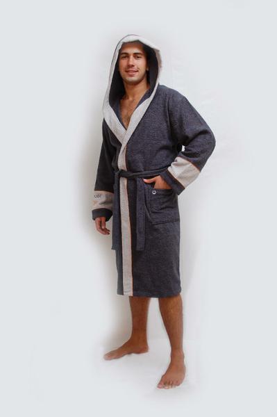 "халат мужской р-р 48-56. махровый халат мужской с капюшоном, вышивка на рукаве ""С Легким паром"""