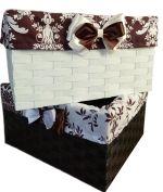 плетеные корзины, комоды с плетеными корзинами, промостойки