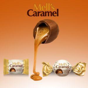 Каждый шоколад «Mell's Caramel» представляет  тягучей соленой карамели покрытым нежным  шоколадом.