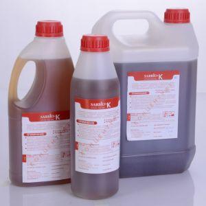 SARBIO K – универсальное кислотное концентрированное пенное средство многоцелевого использования с дезинфицирующим эффектом. Специально разработанная композиция  биоразлагаемых поверхностно-активных веществ, органических и неорганических кислот с отличной грязеудаляющей способностью с дезинфицирующим эффектом, легко смывается водой. Срок хранения 12 месяцев с момента изготовления.      ТУ – -2009. Относится к 3 классу умеренно опасных веществ. рН 2-4. Средство предназначено для ручной и автоматизированной пенной мойки пищевого оборудования, производственных и складских помещений, сан.узлов, а так же используется в молочной и мясоперерабатывающей промышленности.