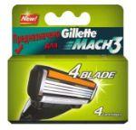 Кассета с 4-мя лезвиями для Gillette Mach3, упаковка 4 шт.