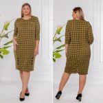 Платье в клетку (оливка) Latika 174