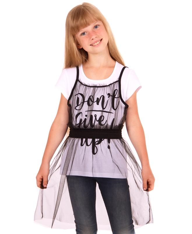 Комплект для девочки , футболка и сарафан сетка, коллекция Праздничный вечер