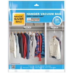 Вешалка вакуумный пакет. Обережет ваши вещи от сырости и моли, и при том сохранит место в вашем шкафу для других нарядов.  Размеры: L: 70 * 104                XL: 70 * 144
