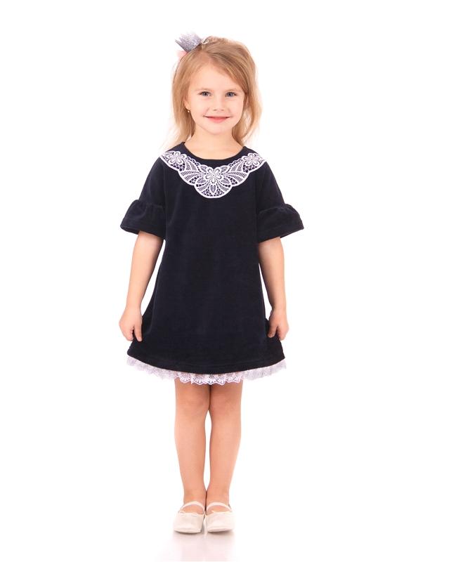 Платье для девочки из велюра коллекция Праздничный вечер