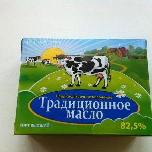 Масло сливочное. Масло сладко-сливочное Традиционное 82,5%