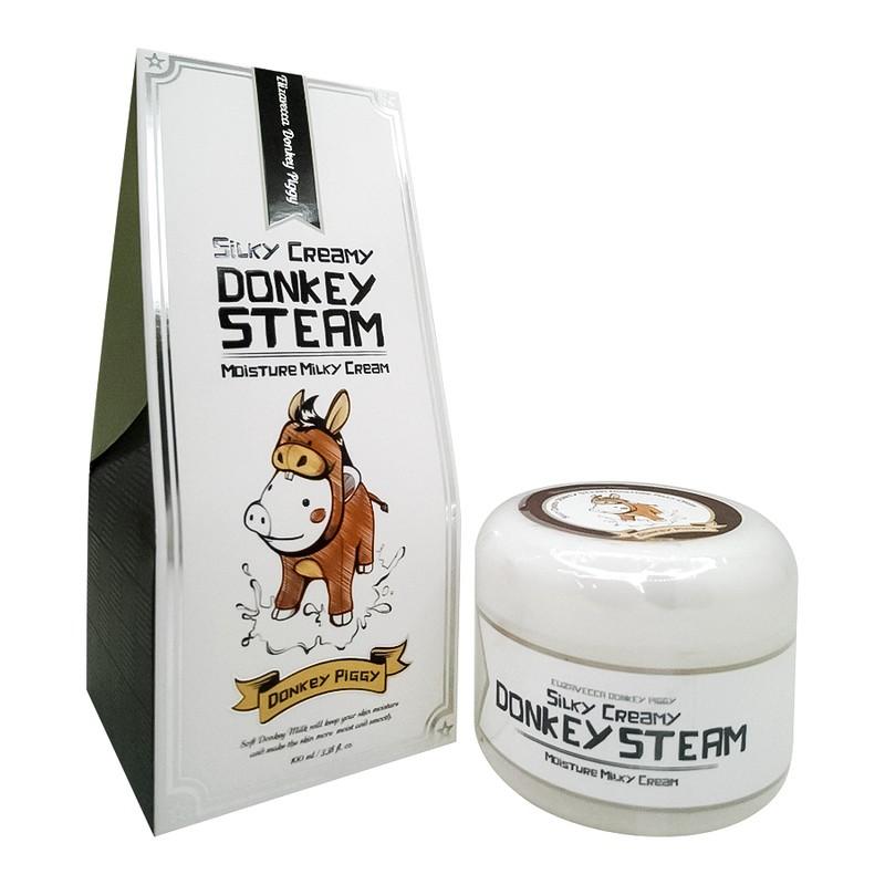 Elizavecca Silky Creamy Donkey Steam Moisture Паровой увлажняющий крем с молоком ослиц. Крем с молоком ослиц создан с использованием паровой технологии, что делает средство необычайно легким, воздушным, помогает ему быстрее усваиваться кожей и воздействовать на более глубоких уровнях. Паровой крем интенсивно увлажняет, питает и смягчает, способствует устранению шелушений, помогает избавиться от морщин и выравнивает тон, делает кожу необычайно гладкой и шелковистой, свежей и сияющей. Молоко ослиц способствует своевременному обновлению коллагенового каркаса и тем самым замедляет процессы старения. Высокое содержание натуральных антиоксидантов, нейтрализует действие свободных радикалов, что также предупреждает преждевременное старение кожи. Способ применения: нанести крем на очищенную кожу лица мягкими массажными движениями.