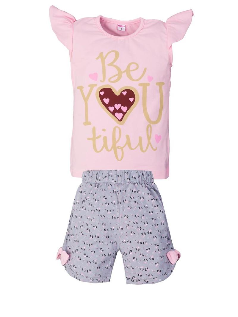 Комплект футболка с шортами для девочек, кулирка 100% хлопок Цена 242 рубля  Возраст от 5 до 8 лет
