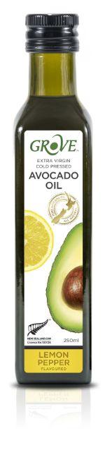 Масло авокадо GROVE AVOCADO OIL EXTRA VIRGIN. Первый холодный отжим со вкусом Lemon & Pepper