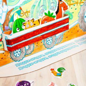 В комплекте СИНИЙ ТРАКТОР: Картонные карточки со зверятами и ягодами из мультфильма