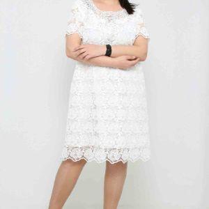 43 $ ЦВЕТ: БЕЛЫЙ РАЗМЕРЫ: 42, 44, 46, 48 Одежда - Ежедневные платья средней длины Оптовые покупки  100% полиэстер