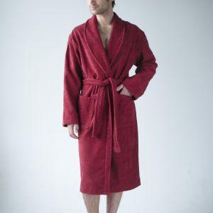 Бордовый махровый халат