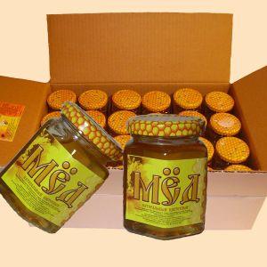 Мёд оптом. Оптовые продажи мёда. Продаём мёд оптом.  Ящик: 24 банки, вес брутто 10 кг. Год сбора 2014г.