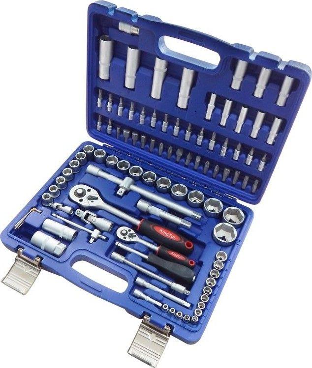 """Набор инструментов 94пр. 1/2'', 1/4'' (6гр.) KingTul  94 предмета, размеры: 1/2"""", 1/4"""", 6гр., 4мм-32мм  В комплект входит: - Головка торцовая 6-и гранная 1/2 дюйма (длинна-38 мм): 10-11-12-13-14-15-16-17-18-19-20-21-22-24-27-30-32 мм - Головки удлиненные 1/2"""" (L-77 мм): 14-15-17-19-22 мм - Головки свечные 1/2"""": 16 мм-20,6 мм  - Головки 1/4"""" (L-25 мм): 4-4,5-5-5,5-6-7-8-9-10-11-12-13-14 мм - Головки 1/4"""" (L-50 мм): 6-7-8-9-10-11-12-13 мм - Головки-биты 1/4"""": HEX 3-4-5-6; TORX T8-T10-T15-T20-T25-T30; SL (-) 4-5,5-6,5 мм; PH (+) PH.1-PH.2; PZ (+) PZ.1-PZ.2 - Биты 5/16"""": HEX 7-8-10-12-14 мм; TORX T40-T45-T50-T55; SL (-) 8-10-12 мм; PH (+) PH.3-PH.4; PZ (+) PZ.3-PZ.4  - Трещотки реверсивные: 1/4""""-1/2"""" - Отвертка-вороток 1/4"""" - Вороток Т-образный 1/4"""" - Удлинители: 1/4""""50 мм-100 мм; 1/2"""" 125 мм-250 мм - Удлинитель гибкий 1/4"""" - Карданы шарнирные: 1/4""""- 1/2"""" - Адаптер-переходник 3/8""""-1/2""""(M) (с отверстием) - Шестигранные ключи Г-образные: 1,5-2-2,5 мм"""
