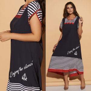 """Летнее свободное платье в морском стиле из ткани """"Масло.  """"Модель 167  Размеры 50, 52, 54, 56, 58, 60."""
