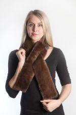 Женский зимний шарф из натурального меха норкиFN FUR