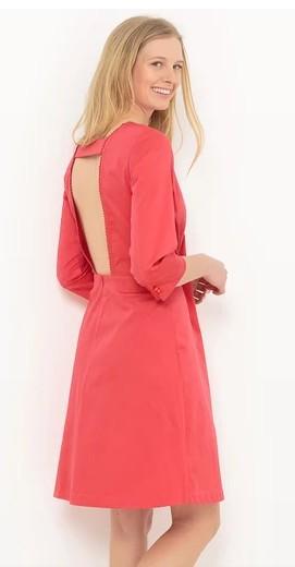 Платье с глубоким вырезом сзади и круглым вырезом спереди. Цвет розовый/коралловый. Состав: 98% хлопка, 2% эластана. Размерный ряд: с 40 по 48. Отп от 50 штук, цена 200 рублей