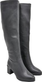 Сапоги черные кожаные с увеличенной полнотой голени Maralini KF19901