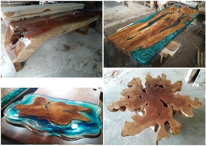 Оригинальная мебель из ценных пород тропических деревьев в комбинации со смолой. Новое направление в искусстве создания мебели и декора.