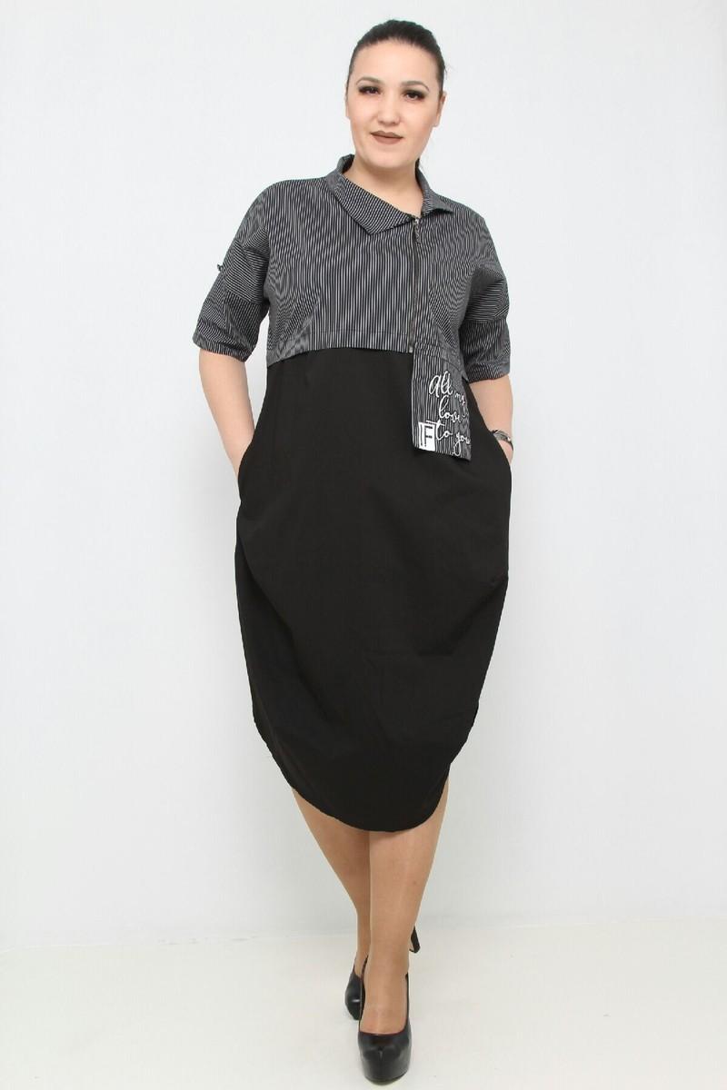 28 $ ЦВЕТ: ЧЕРНЫЙ РАЗМЕРЫ: 50, 52, 54, 56 Одежда - Ежедневные платья средней длины Оптовые покупки