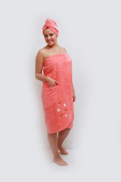 Набор для сауны. Махровый набор для сауны женский (парео, чалма, вышивка)