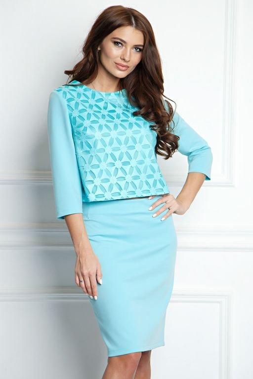 Блузка из трикотажа и кожи ( Б-25-8)  Описание: Укороченный блузка из трикотажа красивого мятного цвета .  На полочке кожа на сетке.  Рукав длиной 3/4.  Длина по переду 50-52см, по спинке 52-54 (в зависимости  от размера)  Продается комплектом с юбкой Ю-26-8 или отдельно, можно выбрать топ и юбку разного размера  Состав ткани: 92% п/э, 8% спандекс  Рост фотомодели 168см,размер 44