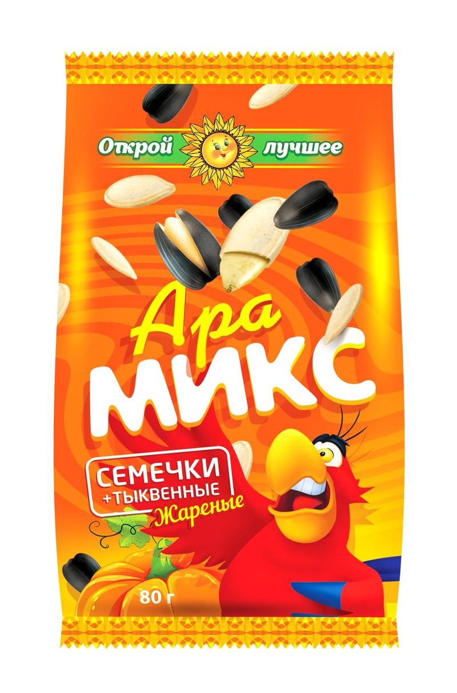 Ара Микс - семечки отборные с семечками тыквы жареными, солеными Вес 1 пакетика 80 гр. Упаковка 20 шт.