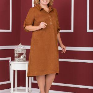 Хит продаж! Платье-рубашка из мягкой замшевой ткани. Модель 1555, размерный ряд- 56,58,60