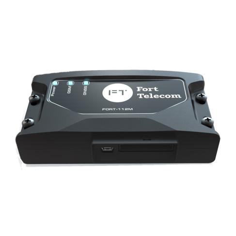 FORT-112М — терминал для коммерческого мониторинга транспорта, идеально подходящий для решения задач по контролю транспорта и снижению затрат для всех компаний, где есть автопарк.  Характерные особенности: •Оптимальная цена •Встроенная литий-полимерная батарея на 800 мА ч •Встроенные антенны ГЛОНАСС/GPS и GSM •Полный набор интерфейсов •Эргономичный дизайн Области применения: •Сельскохозяйственные компании •Логистические компании •Горнодобывающая промышленность •Нефтяные компании •Грузоперевозки •Строительные компании Технические характеристики: •Время «горячего» старта — 1 сек; •Встроенные антенны ГЛОНАСС/ GPS  и GSM; •Четыре входа общего назначения с функцией подсчета импульсов и вход для подключения «зажигания»; •Два аналогово-цифровых входа (диапазон от 0 до 15В и от 0 до 30В); •Один выход общего назначения (до 60В, 1А); •Интерфейсы: RS-232, RS-485, 1-Wire, CAN;     •Датчик вскрытия; •Индикаторы состояния на корпусе; •Встроенная литий-полимерная батарея на 800 мА ч; •Диапазон входного напряжения 8-40В; •Работа при температурах от -40˚С до +85˚С •Непрерывный on-line контроль объекта; •Качественная прорисовка трека и отсутствие «срезания» углов; •Настраиваемая периодичность отправки данных на сервер для экономии GPRS-трафика; •Подключение переговорных устройств; •Сбор данных с CAN-шины автомобиля; •Подключение до 8 датчиков уровня топлива; •Подключение до 8 цифровых датчиков температуры (интерфейс 1-Wire); •Идентификация водителей по ключу IButton и картам RFID; •Порты RS-232 и RS-485 для подключения датчиков уровня топлива, дисплея водителя и др. оборудования; •Выход для управления внешним оборудованием; •Возможность работы в протоколе EGTS; •Передача данных на 2 сервера; •Настройка через SMS, GPRS, USB; •Контроль стиля вождения •Bluetooth.