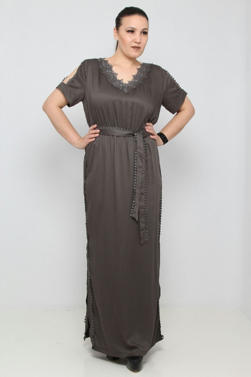 28 $ ЦВЕТ: СЕРЫЙ РАЗМЕРЫ: 42, 44, 46, 48 Одежда - Ежедневные платья длинные Оптовые покупки  100% Полиуретан