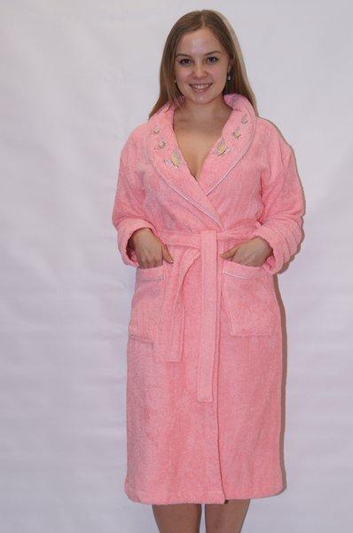женский халат р-р 42-52. Махровыйй женский халат воротник шалька вышивка Бабочки