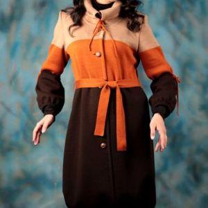 """Вязаное пальто """"Узелки"""". Оригинальное пальто из новой весенней коллекции. С помощью вязаных тесемок и пояса меняем модель пальто по своему желанию.   -Подол прямой, со сборкой-тюльпан. Пальто теплое, на подкладе."""