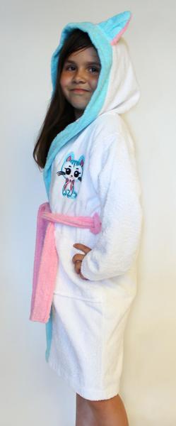 """Халат для девочки р-р 3-5 лет. Махровый халат для девочки с капюшоном вышивка """"киска"""""""