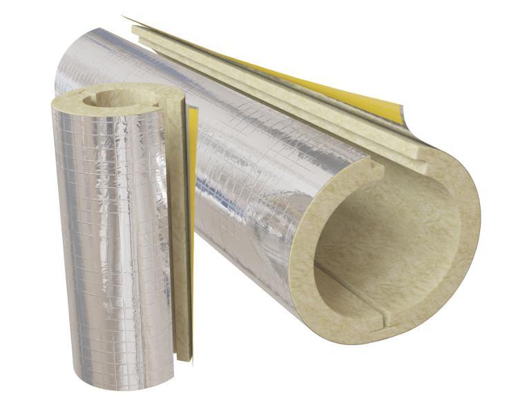 Цилиндры ИЗОЛИН RW ALU. Теплоизоляционные изделия из минеральной ваты на основе базальтовых пород  с покрытием армированной алюминиевой фольгой и продольным нахлестом с самоклеящимся слоем.