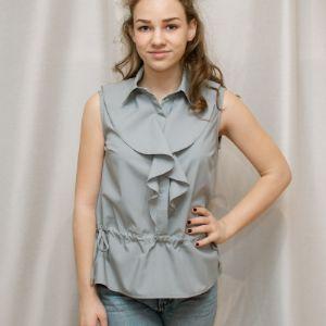 Блузка женская, артикул 1006,серый цвет, прекрасное сочетание с пиджаком.