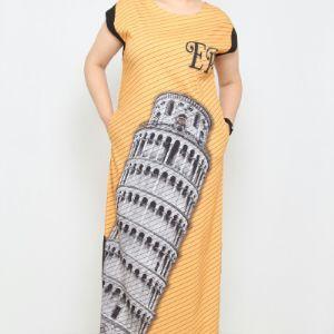 30 $ ЦВЕТ: ЖЕЛТЫЙ РАЗМЕРЫ: 42, 44, 46, 48 Одежда - Ежедневные платья средней длины Оптовые покупки  72% хлопок, 25% полиэстер, 3% лайкра