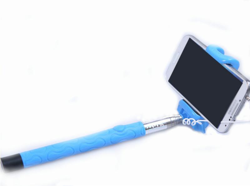 Монопод Kjstar Z06-4 (проводной-оригинал). встроенная Bluetooth кнопка, работает с iOS Android + селфи через кнопку громкости)  (розовый, голубой)