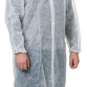 Халат хирургический на кнопках спанбонд Длина халата: 147 см. Цвет материала: белый/голубой  Плотность материала: 30 гр 40 гр 60 гр./кв.м.