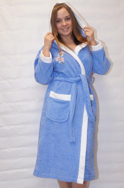 Халат женский р-р 42-52. махровый халат с капюшоном вышивка коллибри