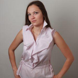Блузка женская, артикул 1006, нежно-розового цвета, прекрасное сочетание с пиджаком