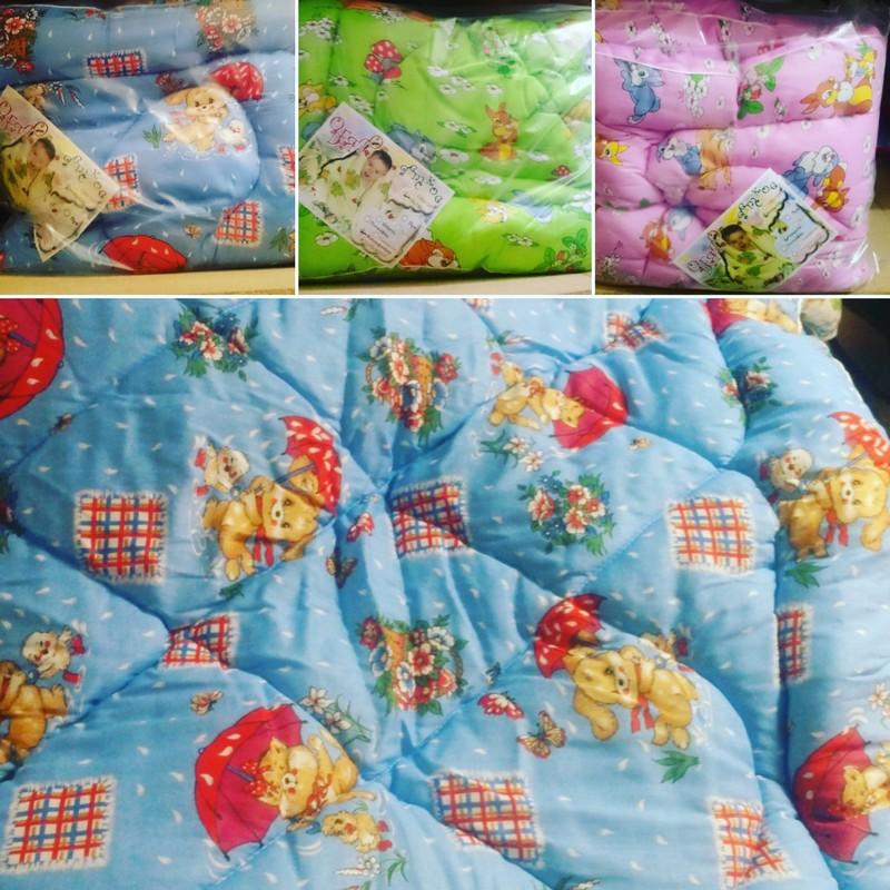 Детские одеяла из холофайбера и овечьей шерсти,размер 110х140, ткань цветная бязь