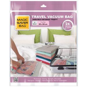 Вакуумный пакет ''Travel''. Сохранит место в багаже, и Вы сможете с собой взять больше одежды. Размеры: XS: 35 * 50                   S: 40 * 60                  M: 45 * 60                   L: 50 * 70