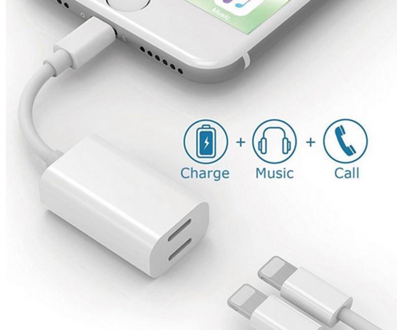 двойной адаптер lightning кабель для iPhone  New dual-lightning-wire 2-in-1 adapter