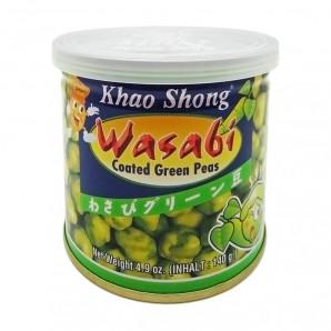 Зеленый горошек с васаби острый Khao Shong 140г Зеленый горошек с васаби острый Khao Shong – горошек в глазури из рисовой муки с васаби. Уникальное сочетание горошка, васаби, рисовой муки удивит даже очень изысканного гурмана. Подойдет к любому столу в качестве закуски. Благодаря своему уникальному вкусу и пользе продукты марки Khao Shong популярны во всем мире.  Противопоказания: Индивидуальная непереносимость компонентов.  Состав: Рисовая мука, пальмовое масло, сахар, пшеничная мука, зеленый горошек, васаби, соль.