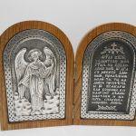 .Складень - Ангел Хранитель. рамка дуб натуральный, посеребренный или медный, снаружи распятие.