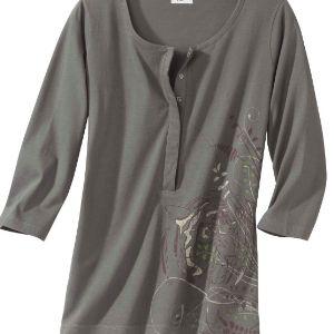 Серая блуза с рукавами 3/4, выполненная из трикотажа джерси превосходного качества, необычайно приятна в носке и очень элегантна. Круглый вырез, планка-застежка на 6 пуговицах, удлиненный крой и крупный принт придают изделию оригинальность. Блуза прекрасно сочетается с капри и джинсами.  Размерный ряд M, L, XL Опт - от 100 штук .Цена 120 рублей
