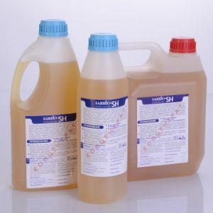 SARBIO SН – универсальное щелочное пенное средство с дезинфицирующим эффектом. Специально разработанная композиция  биоразлагаемых поверхностно-активных веществ и щелочных компонентов  позволяет эффективно удалять стойкие загрязнения. Хорошо смешивается с водой в любом соотношении. Срок хранения 24 месяца с момента изготовления.  ТУ – -2009. Относится к 3 классу умеренно опасных веществ. рН 12-13. Средство предназначено для ручной и автоматизированной пенной мойки пищевого оборудования, коммуникаций и инвентаря на станциях технического обслуживания, животноводческих фермах и комплексах, заводах по переработке молочной, мясной, пивоваренной и другой сельскохозяйственной продукции. Также жидкое средство предназначено для мойки установок пищевой промышленности, чистки коптильного оборудования, грилей, печей. Хорошо удаляет каучуковые загрязнения,  скотч, а так же грибок.