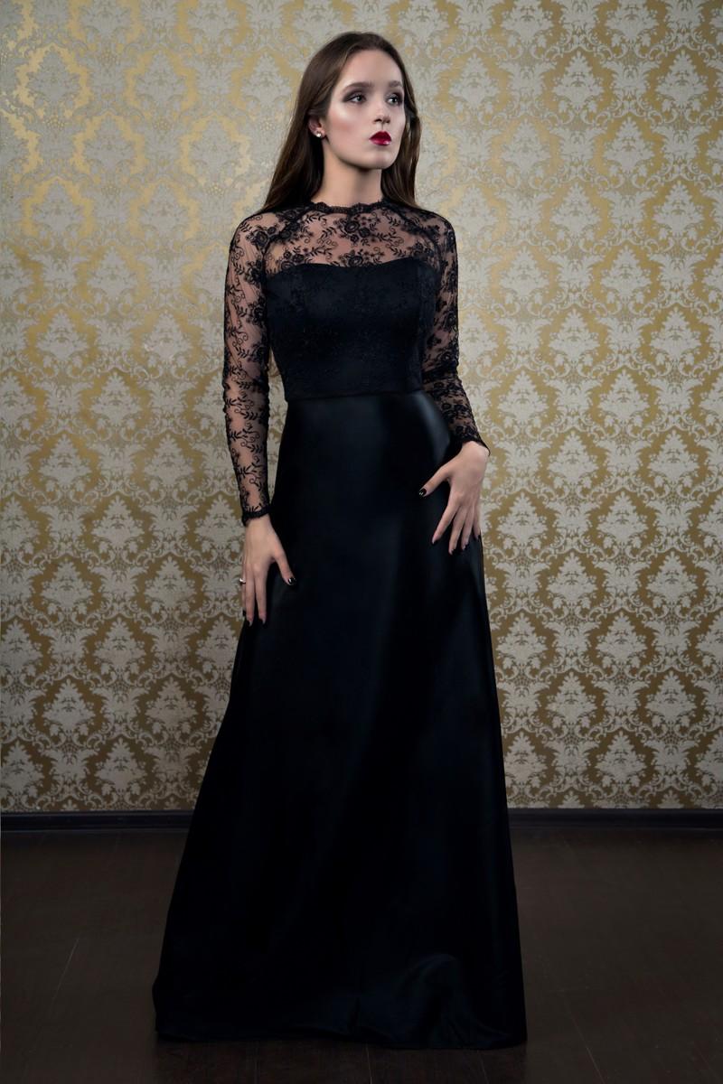 Платье в пол с кружевом по лифу Shory 2-006