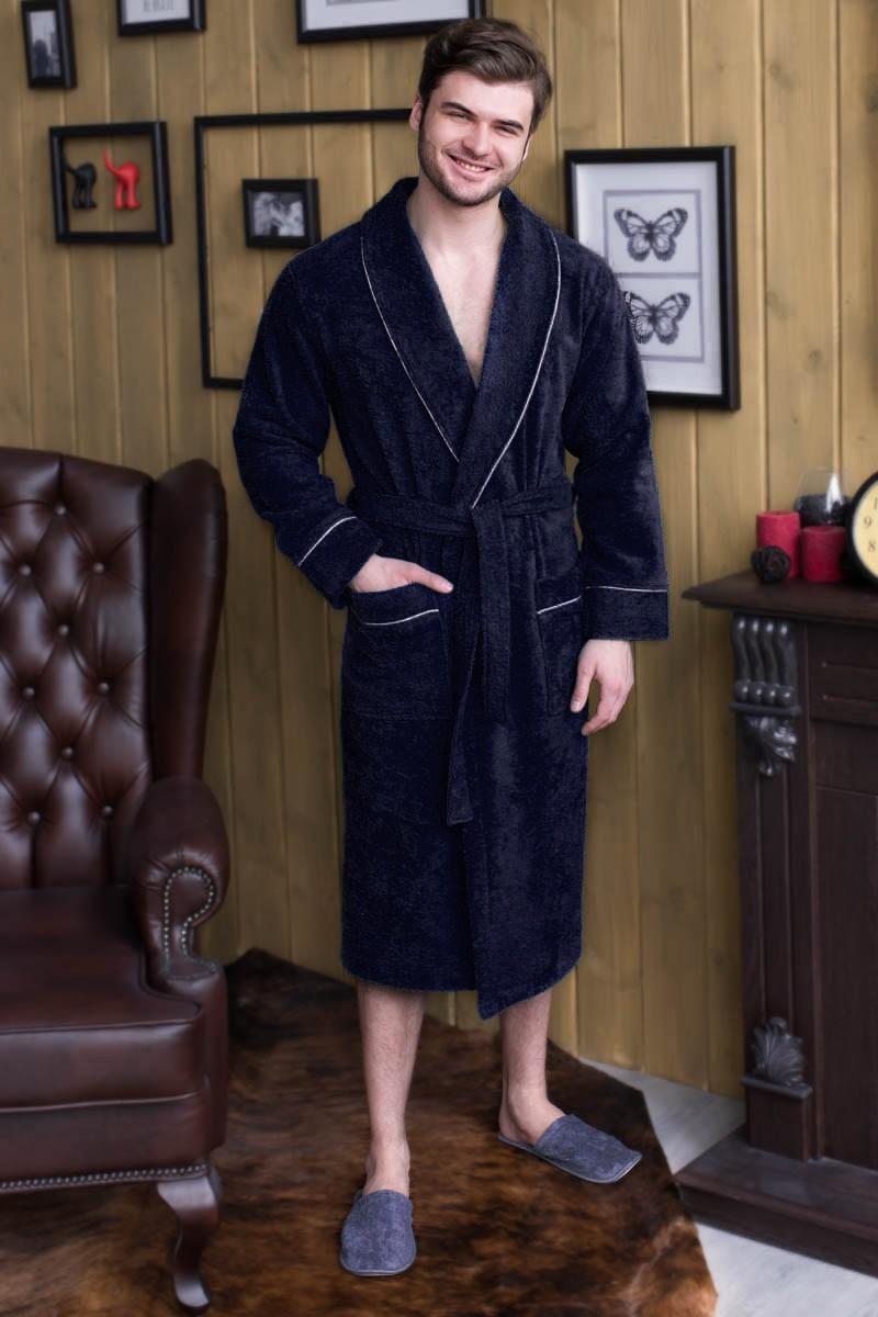 Халат махровый мужской воротник шалевый, 100% хлопок. Размерный ряд с 48 по 56, цена 1290.Есть большие размеры с 58 по 70