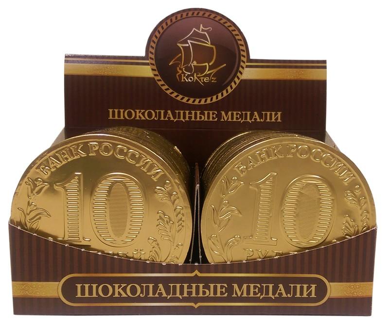 Шоколадные медали выполнены из натурального шоколада.